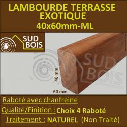 Lambourde pour Terrasse Bois Exotique Classe 4 40x60 mm Prix / ml