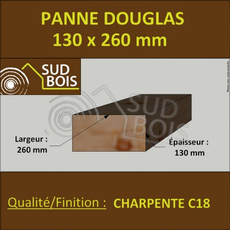 Panne / Poutre 130x260 Douglas Charpente C18 prix au mètre