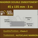 Madrier Chalet Double Emboîtement 45x135 Douglas Autoclave Marron 2nd Choix 3m
