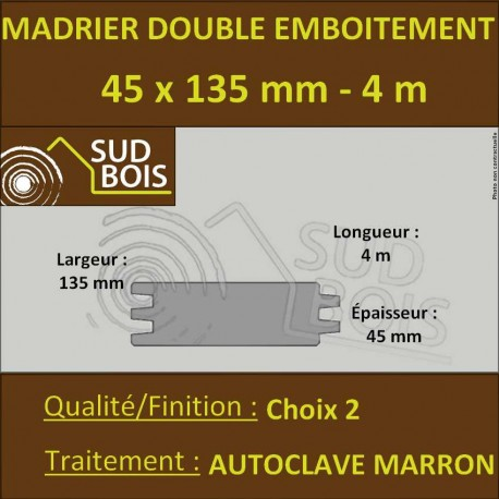 Madrier Double Emboîtement Choix 2 Douglas Autoclave 45x132mm 4m