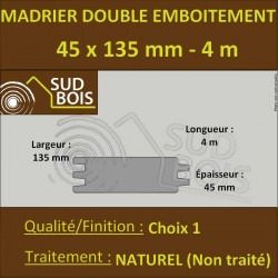 Madrier Chalet Double Emboîtement Douglas Naturel 45x132mm en 4m
