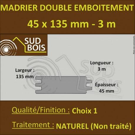 Madrier Chalet Double Emboîtement Douglas Naturel 45x132mm en 3m