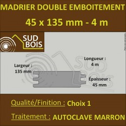 Madrier Chalet Double Emboîtement 45x135 Douglas Autoclave Marron 1er Choix 4m