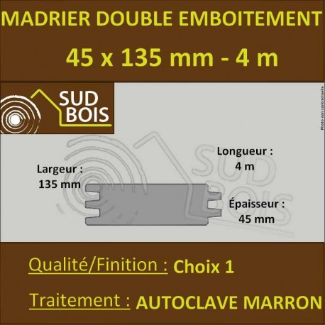 Madrier Double Emboîtement Douglas Autoclave Marron 45x135mm 4m