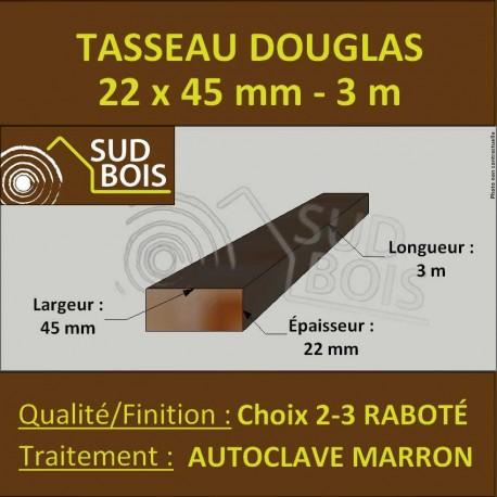 Tasseau 22x45 Douglas Choix 2-3 Autoclave Marron Raboté 3m