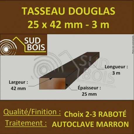 Botte de 12 Liteaux 27x40mm Douglas Raboté Autoclave Marron 3m
