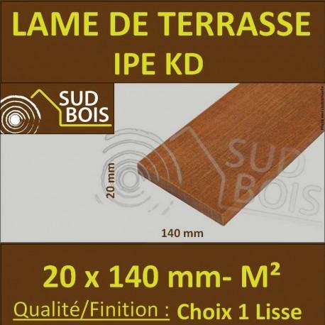 Lame de Terrasse Bois Exotique IPE KD Lisse 2 Faces 20x140 Prix / m²