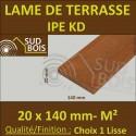 Lame de Terrasse Bois Exotique IPE KD Lisse 2 Faces 20x140 ( 19x140 ) Prix / m²