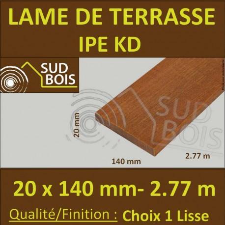 Lame de Terrasse Bois Exotique IPE KD Lisse 2 Faces 20x140 en 2.77m