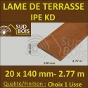 Lame de Terrasse Bois Exotique IPE KD Lisse 2 Faces 20x140 en 2.75m / 2m80