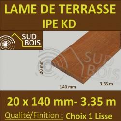 Lame de Terrasse Bois Exotique IPE KD Lisse 2 Faces 20x140 en 3.35m