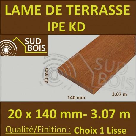 Lame de Terrasse Bois Exotique IPE KD Lisse 2 Faces 20x140 en 3.07m