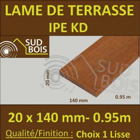 Lame de Terrasse Bois Exotique IPE KD Lisse 2 Faces 20x140 en 0.95m