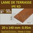 Lame de Terrasse Bois Exotique IPE Lisse 2 Faces 20x140 en 0.95m