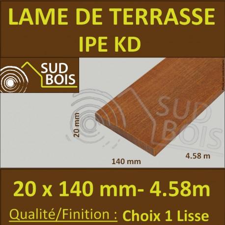 Lame de Terrasse Bois Exotique IPE KD Lisse 2 Faces 20x140 en 4.58m