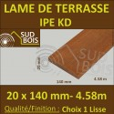 Lame de Terrasse Bois Exotique IPE KD Lisse 2 Faces 20x140 ou 19x140 en 4.55m / 4m60