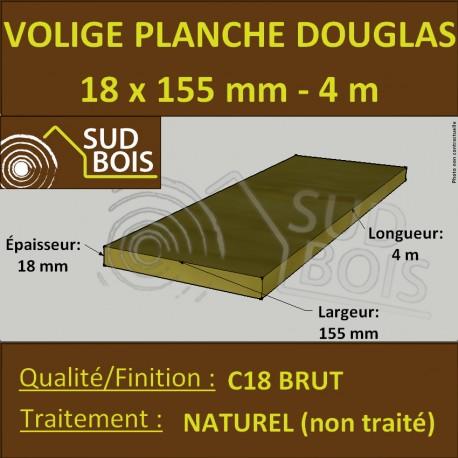 Planche / Volige Calibrée 18x155 (18x150) Douglas Brut Naturel 4m