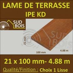 * Lame de Terrasse Bois Exotique IPE KD Lisse 2 Faces 21x100 en 4.88m