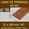 * Lame de Terrasse Bois Exotique IPE KD Lisse 2 Faces 21x100 Prix / m²