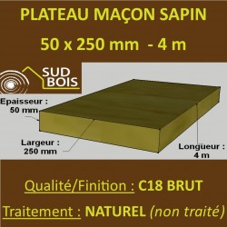 ♦ Plateau Maçon Ferré 50x250mm Sapin / Épicéa Brut Naturel 4m