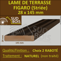 Lame Terrasse 28x145mm Douglas Naturel Choix 2 Striée en 3m
