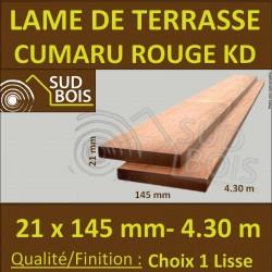 Lame de Terrasse en Cumaru 1er Choix Qualité KD 21x145 Lisse 2 Faces en 4m25 / 4.30m