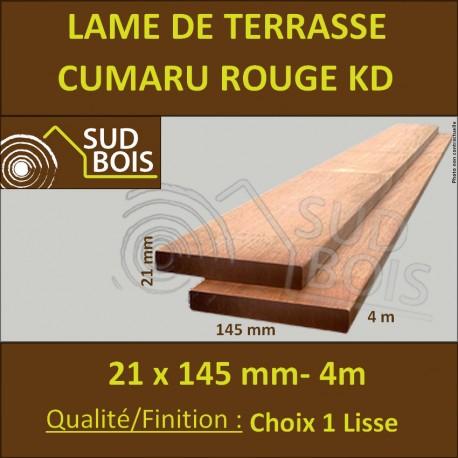 Lame de Terrasse en Cumaru Qualité KD 21x145 Lisse 2 Faces en 4m