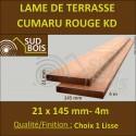 Lame de Terrasse en Cumaru Qualité KD 21x145 Lisse 2 Faces en 3.95m / 4m00