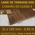 * PROMO Lame de Terrasse Cumaru KD 21x145 Lisse et Striée 6V 0.95m