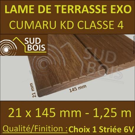 * PROMO Lame de Terrasse Cumaru KD 21x145 Lisse et Striée 6V 1.25m
