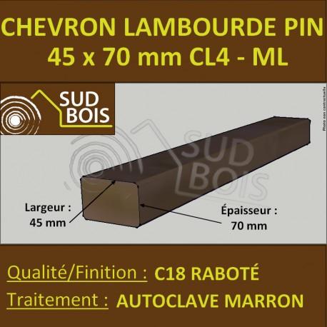 Lambourde / Chevron 45X70 Pin Raboté Traité Autoclave Classe 4
