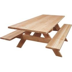 Table Banc de Pique-Nique 6 pers. PMR Douglas Naturel 2m Livraison Gratuite FR