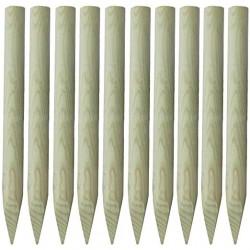 ☺ 10x Piquets Ø60mm de Clôture Bois 100 cm (1m) Bordures de Jardin à Planter en Pin Classe 4