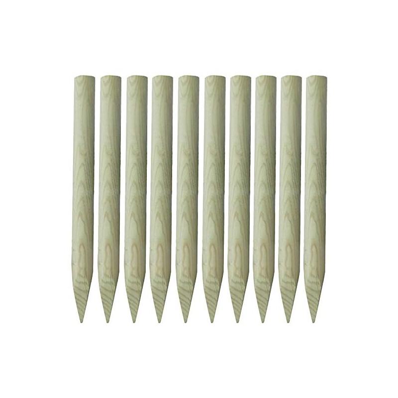 ☺ 10x Piquets Ø60mm de Clôture Bois 100 cm (1m) Bordures de ...