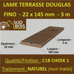 Lame de Terrasse FINO 21x145 (21x145mm) Douglas Naturel 3m