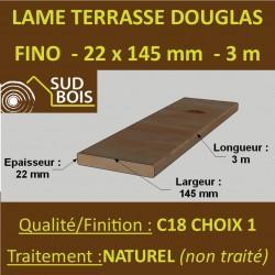 Lame de Terrasse Bois FINO 21x145 Douglas Naturel 1er Choix 3m