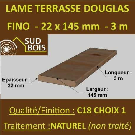 Lame de Terrasse FINO 21x145 (21x145mm) Douglas Naturel 3m
