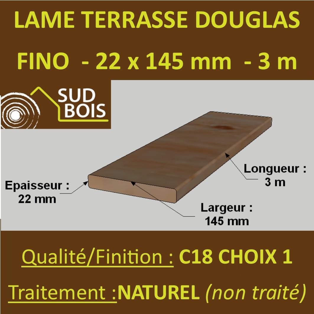 Lames De Bois Exterieur lame de terrasse bois fino 21x145 douglas naturel 1er choix