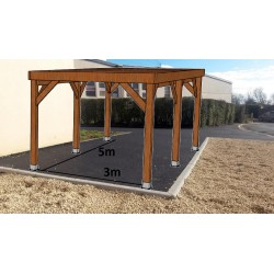 ☺KIT Carport Bois Douglas Traité Autoclave Marron Solide et Durable sans couverture. Dim. 3.20 m x 5.10 m. Livraison Gratuite FR
