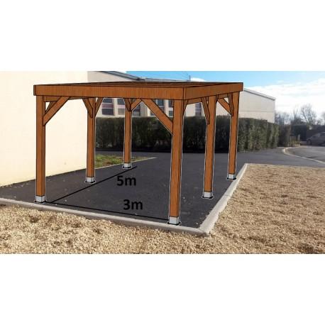 KIT Carport Bois Douglas Traité Autoclave Marron Solide et Durable sans couverture. Dim. 3.20 m x 5.10 m