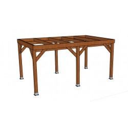 KIT Carport Bois Douglas Naturel Solide et Durable sans couverture. Dim. 3.20 m x 5.10 m