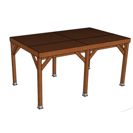 KIT Carport Bois Douglas Traité Autoclave Marron Solide et Durable Avec couverture. Dim. 3.20 m x 5.10 m