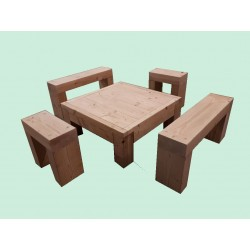 ☺Kit Salon de Jardin en Bois Douglas Naturel : Table basse + banc ...