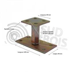 ♦ Pied de poteau réglable hauteur H100/140mm universel galvanisé B16X8