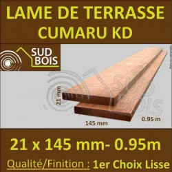 PROMO Lame de Terrasse Cumaru KD 1er Choix 21x145 Lisse 2 Faces 0,95 m