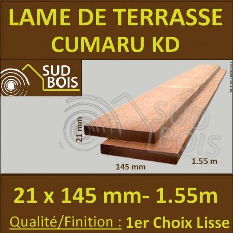 PROMO Lame de Terrasse Cumaru KD 1er Choix 21x145 Lisse 2 Faces 1.55m
