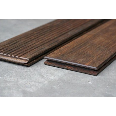Lame de Terrasse Bamboo en Bambou 2 Faces (lisse et striée) 20x139 en 1.85m + Clips et Vis