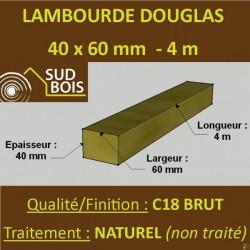 Lambourde / Tasseau 60x40 Douglas Autoclave Marron Sec Brut Qualité Charpente 3m