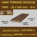 Lame de Terrasse Bois FINO 21x145 Douglas Naturel 1er Choix 4m