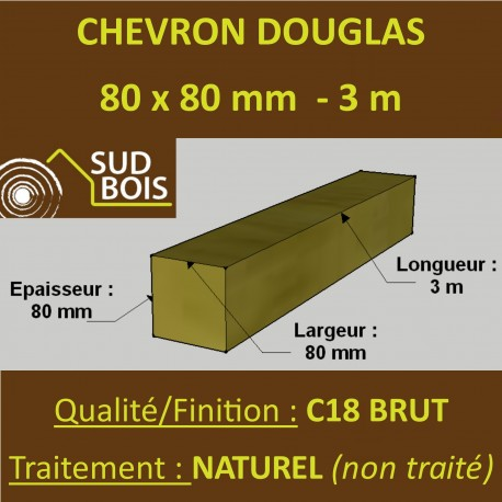 Chevron / Poteau 80x80 Douglas Autoclave Marron Sec Brut Qualité Charpente 3m